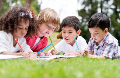 Children Coloring Outdoors